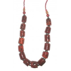 Ethnic handmade necklace imitation red and orange coral embellished with yellow, red...