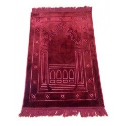 Luxury carpet Grand Confort (padded and ultra-comfortable) burgundy - Mihrab pattern