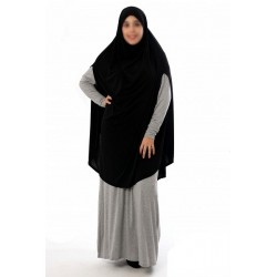 Large cape - Long prayer hijab for women with slits - Black color