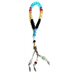 Luxury Sabha for Women - Rosary 33 beads multicolored crystal with silver metallic...