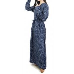 Robe longue couleur bleu nuit à motifs fleuris gris clairs