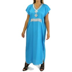 Turquoise blue Moroccan summer dress with silver rhinestones - Gandoura One Size