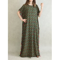 Floral summer dress with multicolored tassels - Gandoura woman short sleeve - Green color