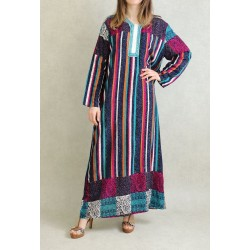 Multicolored long-sleeved striped dress - Turquoise blue color tab