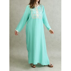 Algerian dress with embroidery and rhinestones - Pastel Green Color