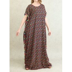 Floral summer dress with multicolored pompoms - Gandoura woman maxi comfort - Navy blue...