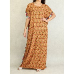 Floral summer dress with multicolored pompoms - Gandoura woman for the house color Apricot