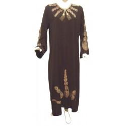 Abaya Bahia noire avec broderies dorées