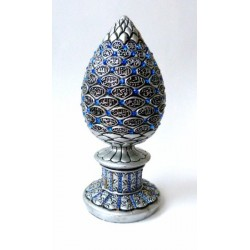 Decorative object with the 99 beautiful Names of Allah decorated with blue emeralds