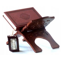 Pack Cadeau Marron : Le Saint Coran version arabe marron, Porte Coran en Bois et un Le...