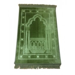 Luxury carpet Grand Confort (padded and ultra-comfortable) khaki green - Mihrab pattern