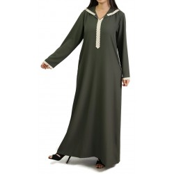 Moroccan djellaba for women with lace and hood - Khaki color