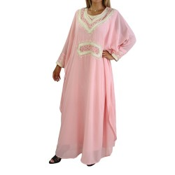 Oriental dress long sleeves with embroidery - Color Pink