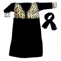 Robe pour fillette noire en col V avec écharpe et motifs dorés