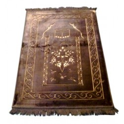 Large thick luxury carpet in brown color with discreet patterns indicating the...