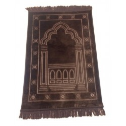 Large thick luxury rug in Brown color with discreet patterns (Mihrab)