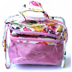 Set of three make-up bags to store its light pink beauty and cosmetic products with...