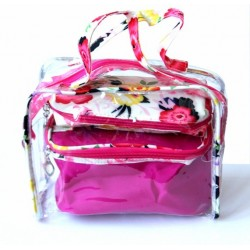 Set of three make-up bags for storing beauty products and cosmetics in fuchsia pink...