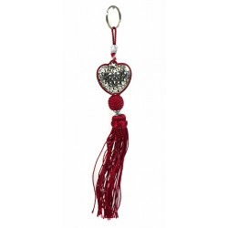 Handcrafted heart key ring in chiseled silver metal and sabra pompom - Red