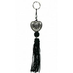 Handcrafted heart keychain / pendant in chiseled silver metal and sabra pompom - Black