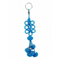 Handcrafted sabra pendant / keychain with tassels - Blue