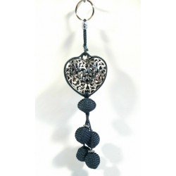 Handcrafted heart pendant / keychain in chiseled silver metal and sabra pompom - Gray