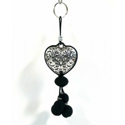 Handcrafted heart pendant / keychain in chiseled silver metal and sabra pompom - Black