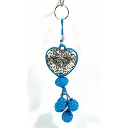 Handcrafted heart key ring in chiseled silver metal and sabra pompom - Turquoise Blue