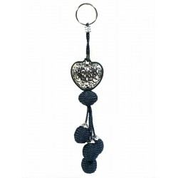 Handcrafted heart keychain / pendant in chiseled silver metal and sabra pompom - Gray