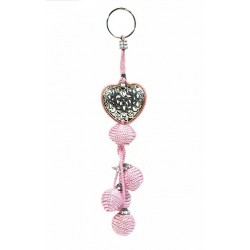Decorative pendant. Handcrafted heart key ring in chiseled silver metal and sabra...