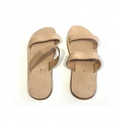 Handcrafted seamless leather sandals or mules for hajj in beige