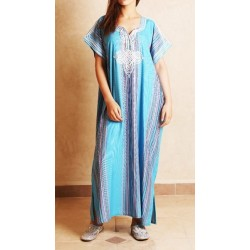 Gandoura / Moroccan dress for women with multicolored stripes (Standard Size) -...