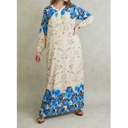 Interior dress 100% cotton - Gandoura long sleeves with floral patterns Blue color
