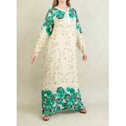 100% cotton interior dress - Gandoura long sleeves with floral patterns Color Green