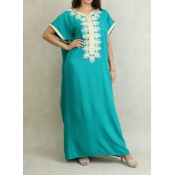 Moroccan dress short sleeves with embroidery - Color Emerald Green