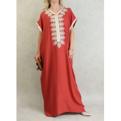 Moroccan dress short sleeves with embroidery - Color Red