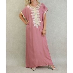 Moroccan dress short sleeves with embroidery - Color Old Pink
