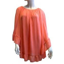 Top de couleur corail pour femme - Taille standard