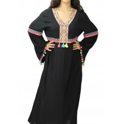 Large black dress with embroidery and small multi-colored pompoms (100% cotton)