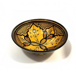 Salad bowl / Medium deep dish in painted and decorated pottery in yellow color