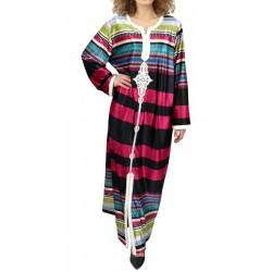 Long dress with black, burgundy and multicolored stripes