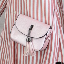 Handbag with flap for women - Shiny light pink color