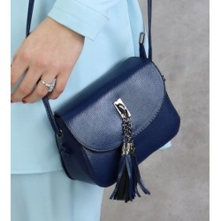Handbag with flap for woman - Navy blue color