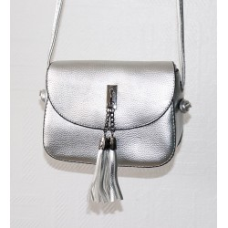 Handbag with flap for woman - Color Silver gray