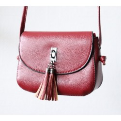 Handbag with flap for woman - Bordeaux Red Color