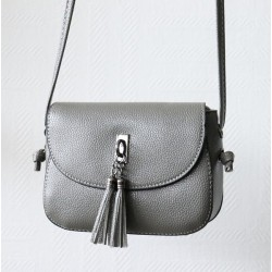 Handbag with flap for woman - Gray color