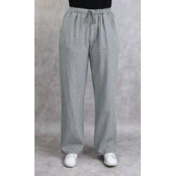 White linen trousers with fine khaki stripes