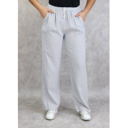 White linen trousers with fine gray stripes