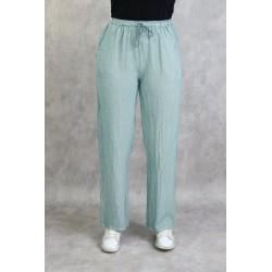 White linen pants with fine almond green stripes