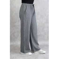 White linen pants with fine black stripes